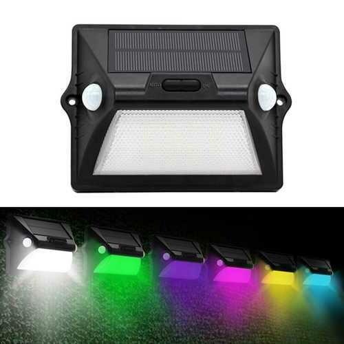 Solar Power Dual PIR Sensor Head Wall Light 12 LED RGBW Colorful Waterproof IP55 Ourdoor Garden Lamp