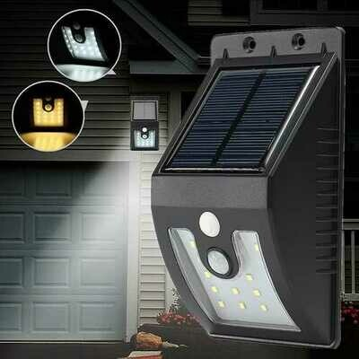 Solar Powered 16 LED PIR Motion Sensor Wall Light Outdoor Garden Waterproof Lamp