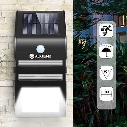AUGIENB 33W PIR Motion Sensor Solar Light Wireless Waterproof Wall Lamp for Outdoor Garden