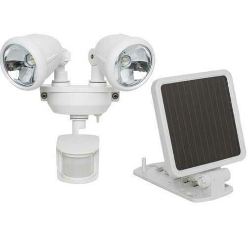 MAXSA Innovations 44217 Solar-Powered Dual Head LED Security Spotlight (White)