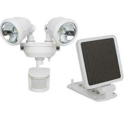 MAXSA Innovations 44217 Solar-Powered Dual Head LED Security Spotlight (White)