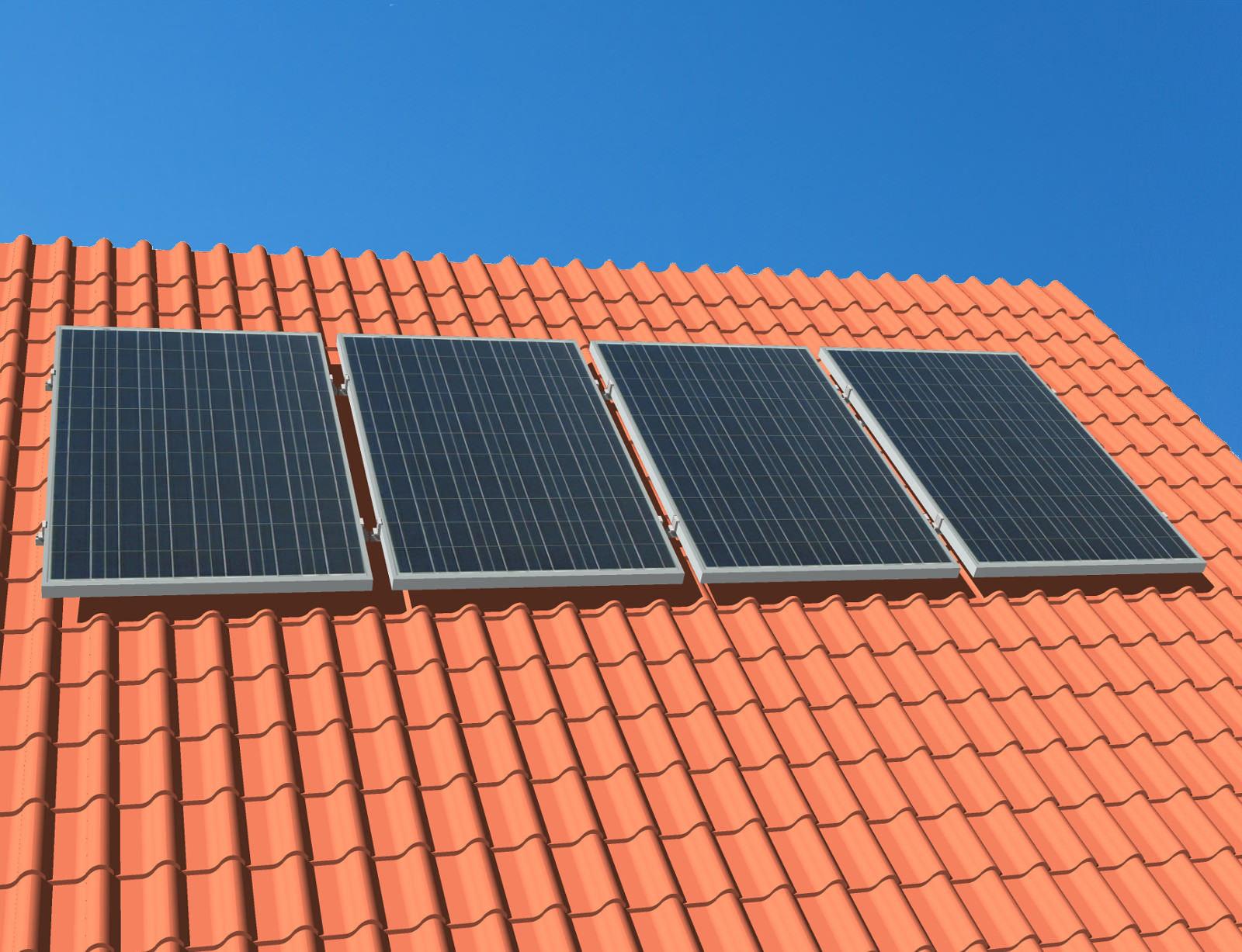 myCleantechSolarPower™ Solaranalage Schrägdach mit 4 Pannels - Musterbild