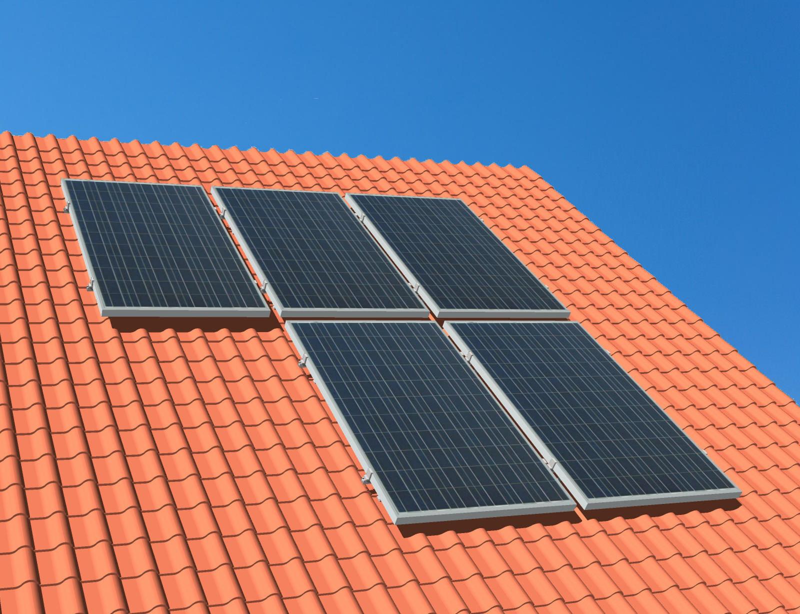 myCleantechSolarPower™ Solaranalage Schrägdach mit 5 Pannels - Musterbild