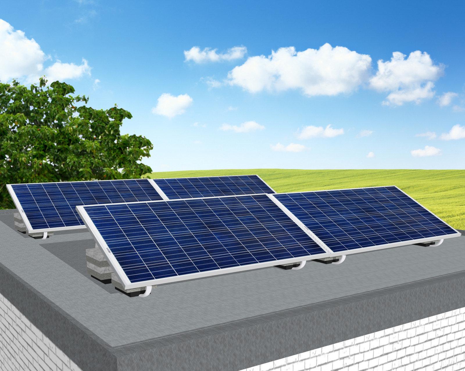 myCleantechSolarPower™ Solaranalage Flachdach oder Carport mit 4 Pannels - Musterbild
