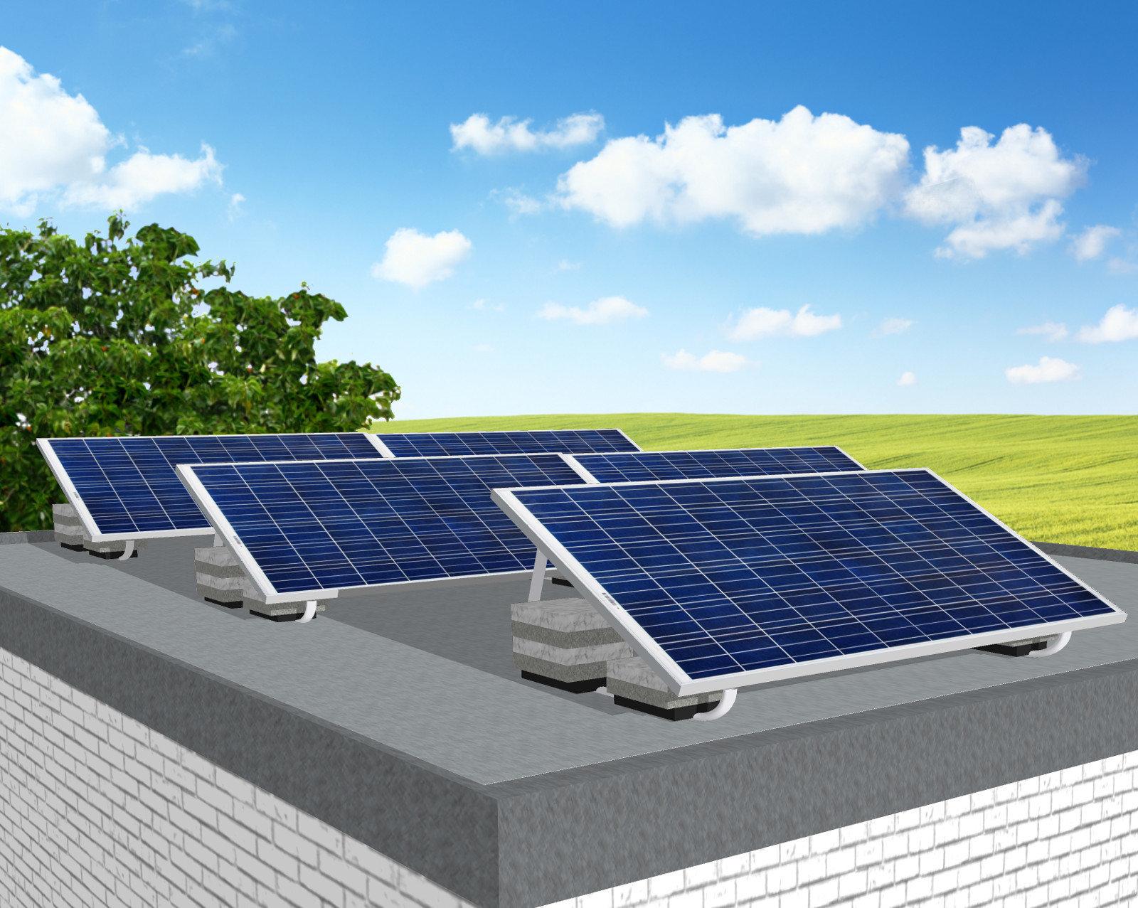 myCleantechSolarPower™ Solaranalage Flachdach oder Carport mit 5 Pannels - Musterbild