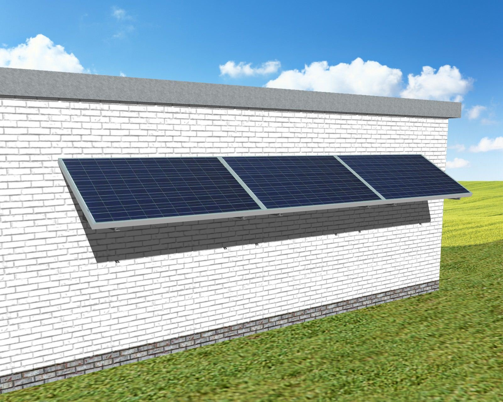myCleantechSolarPower™ Solaranalage Fassade oder Carport mit 3 Pannels - Musterbild