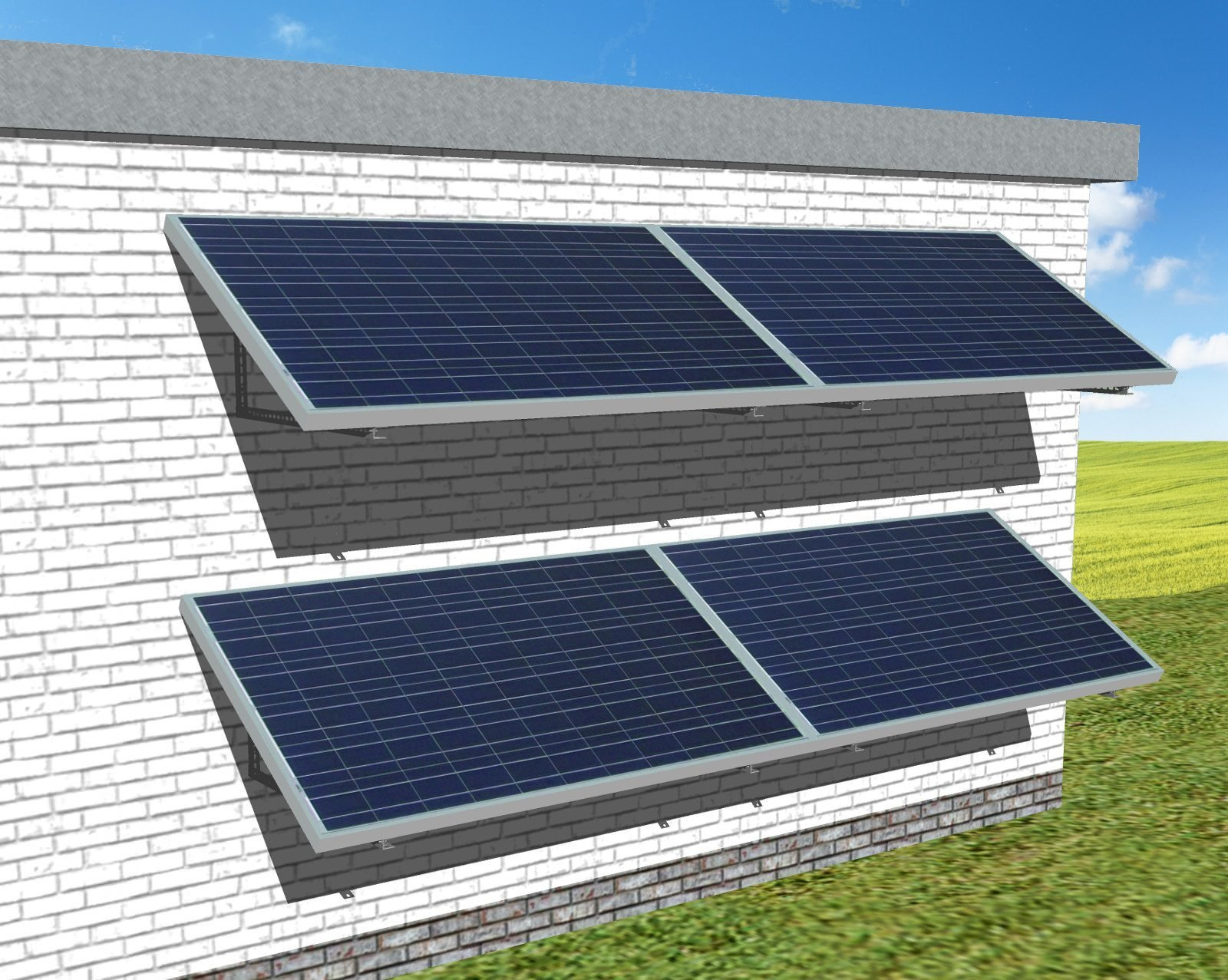 myCleantechSolarPower™ Solaranalage Fassade oder Carport mit 4 Pannels - Musterbild