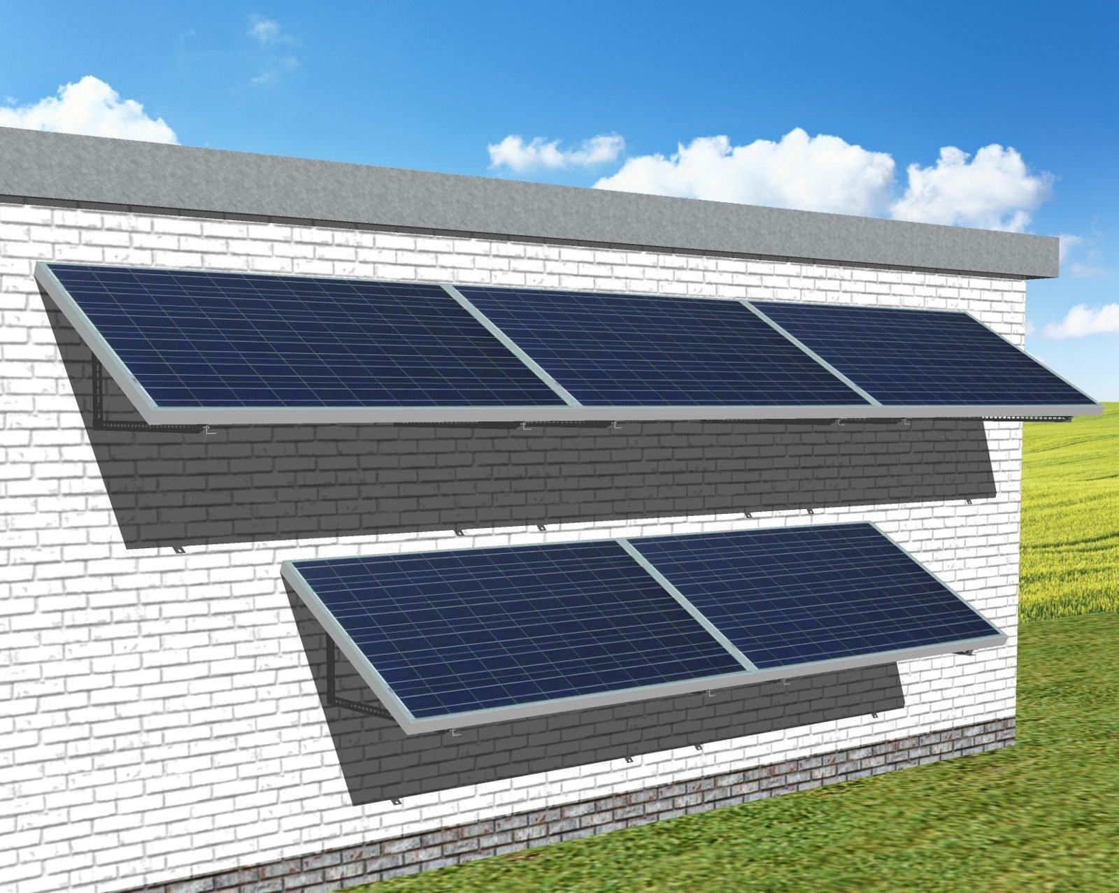 myCleantechSolarPower™ Solaranalage Fassade oder Carport mit 5 Pannels - Musterbild