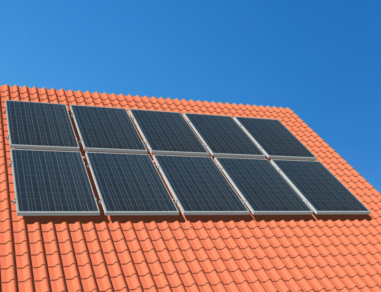 myCleantechSolarPower™ Solaranalage Schrägdach mit 10 Pannels - Musterbild
