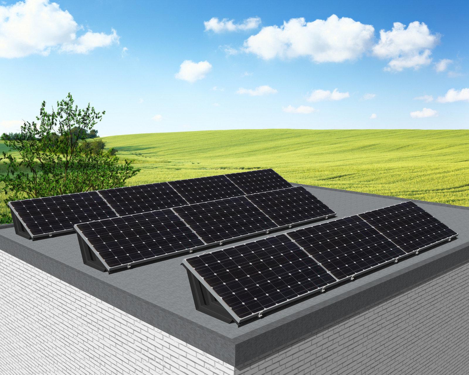 myCleantechSolarPower™ Solaranalage Flachdach oder Carport mit 10 Pannels - Musterbild