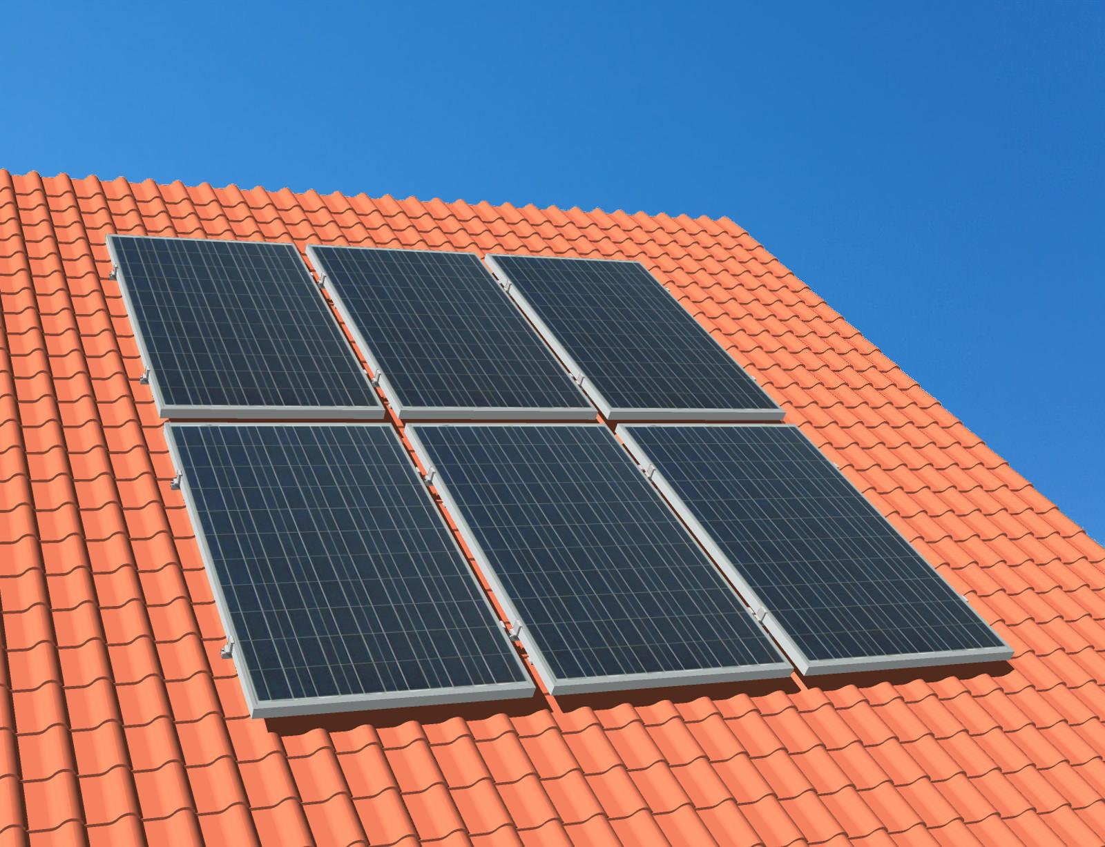 myCleantechSolarPower™ Solaranalage Schrägdach mit 6 Pannels - Musterbild