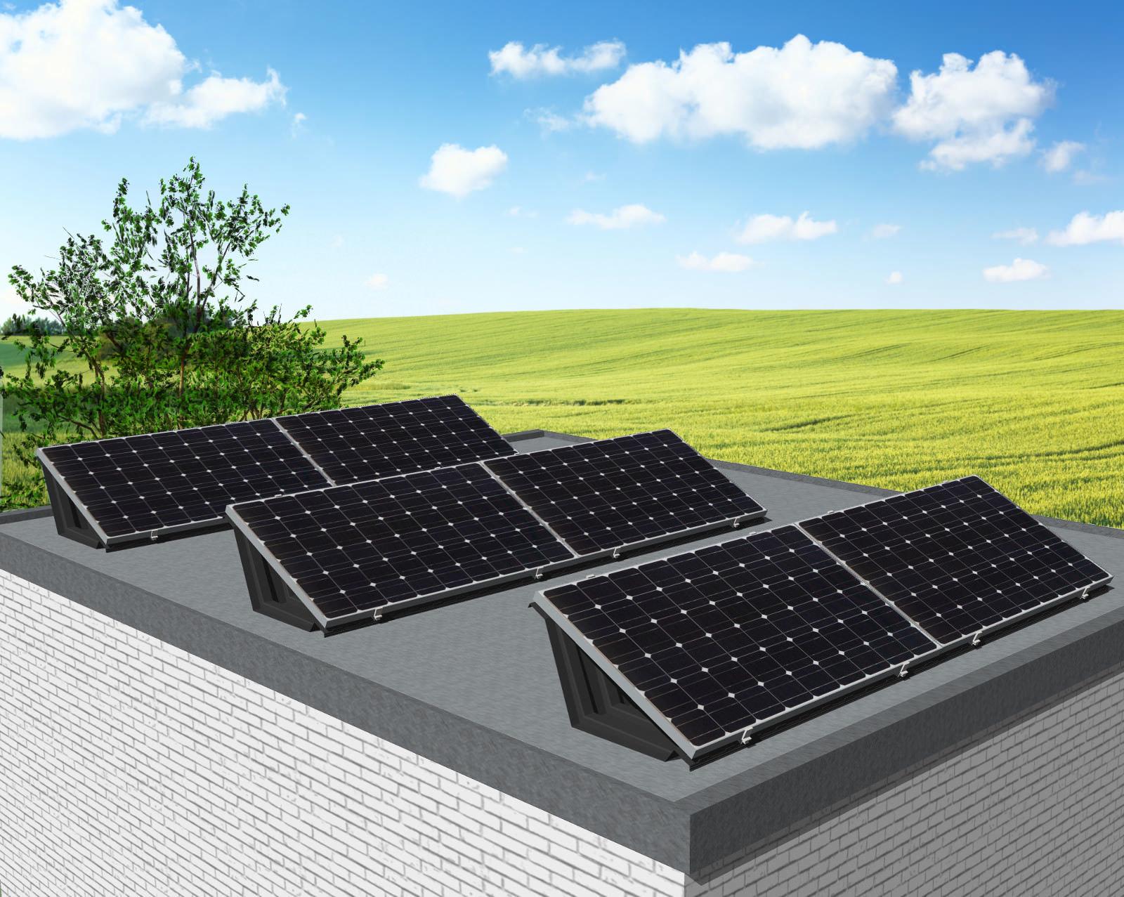 myCleantechSolarPower™ Solaranalage Flachdach oder Carport mit 6 Pannels - Musterbild