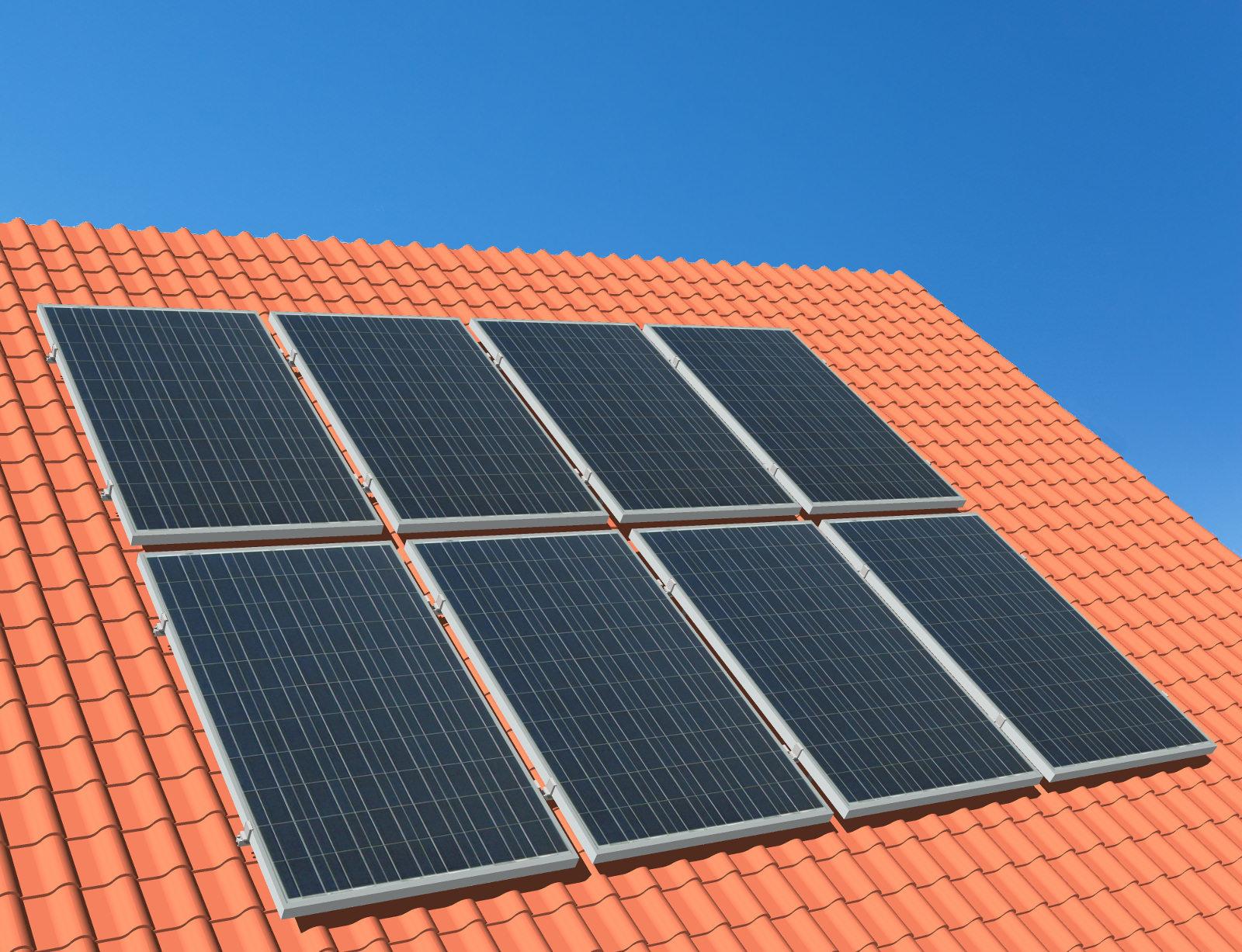 myCleantechSolarPower™ Solaranalage Schrägdach mit 8 Pannels - Musterbild
