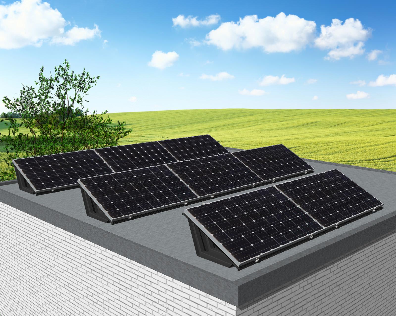 myCleantechSolarPower™ Solaranalage Flachdach oder Carport mit 8 Pannels - Musterbild