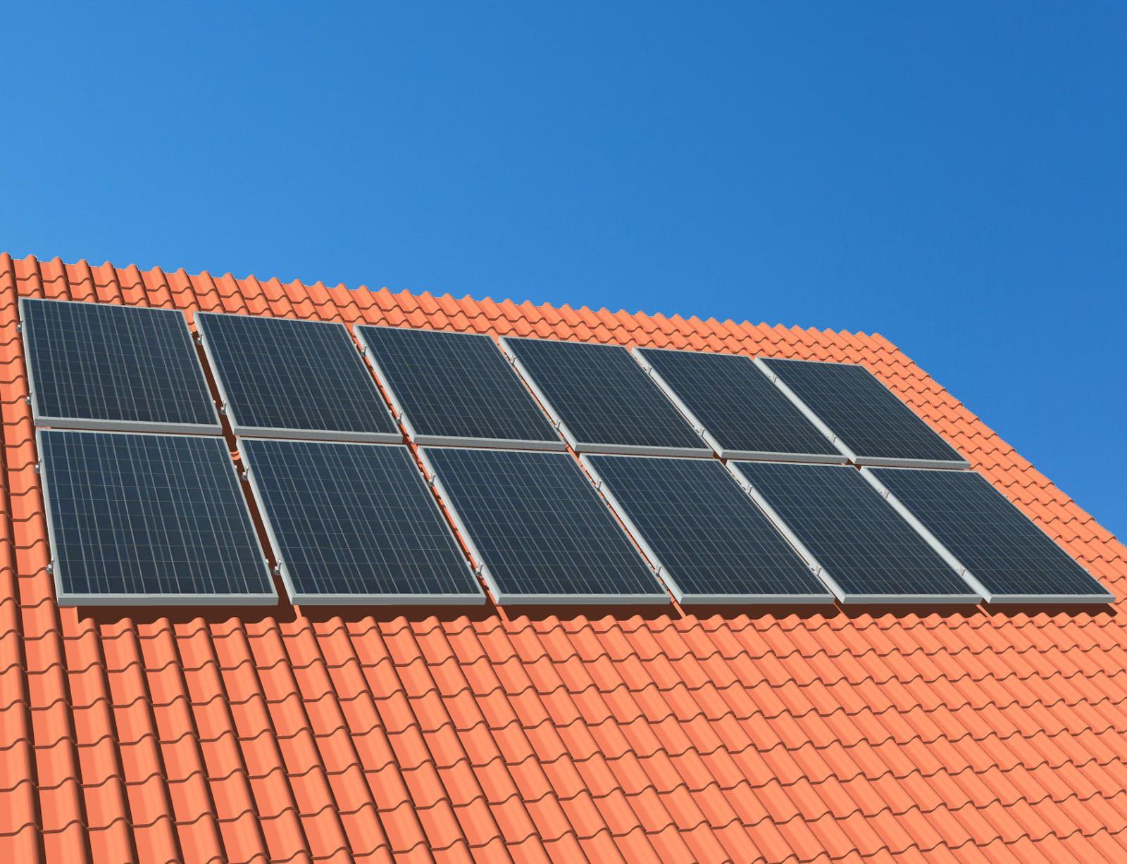 myCleantechSolarPower™ Solaranalage Schrägdach mit 12 Pannels - Musterbild