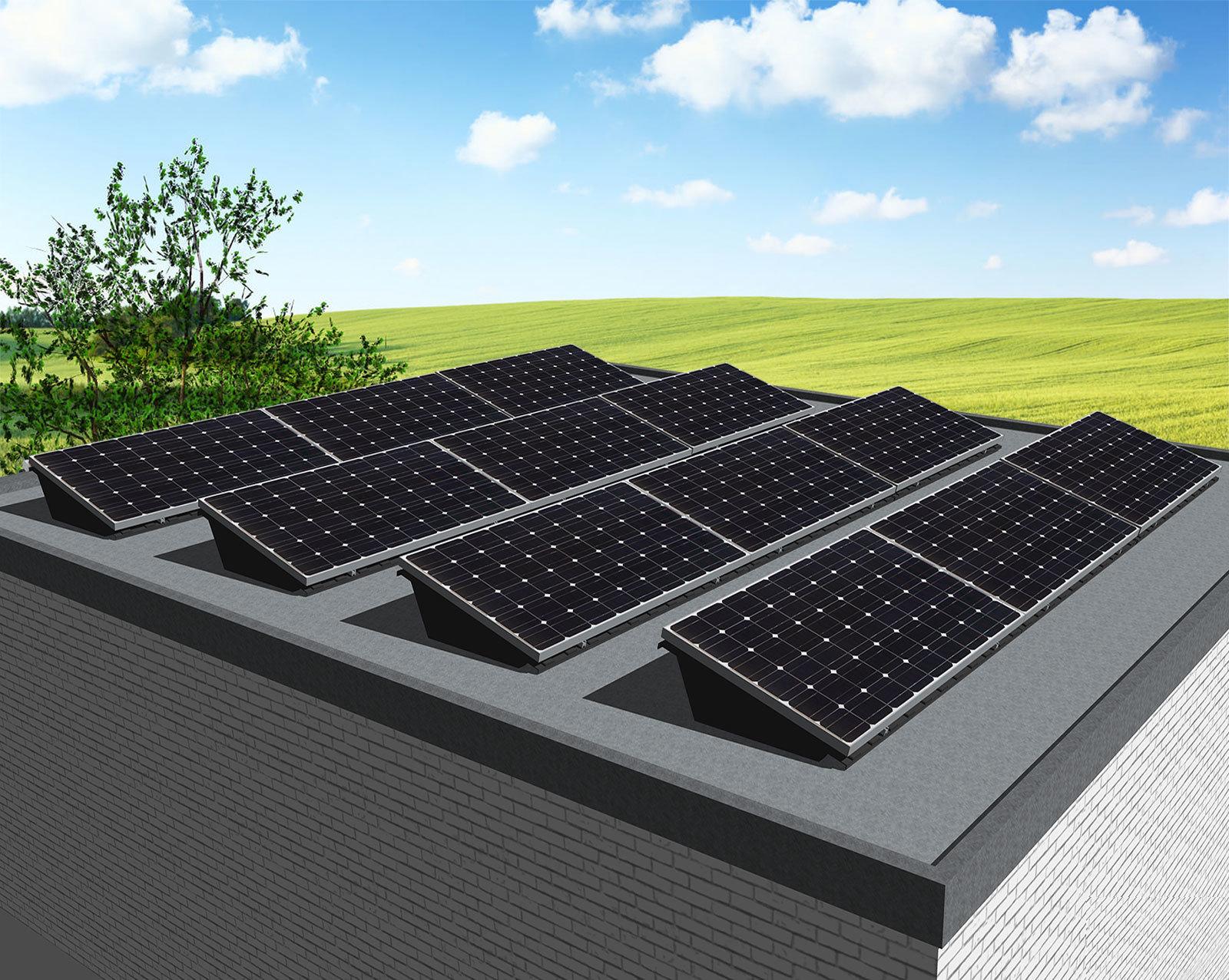 myCleantechSolarPower™ Solaranalage Flachdach oder Carport mit 12 Pannels - Musterbild