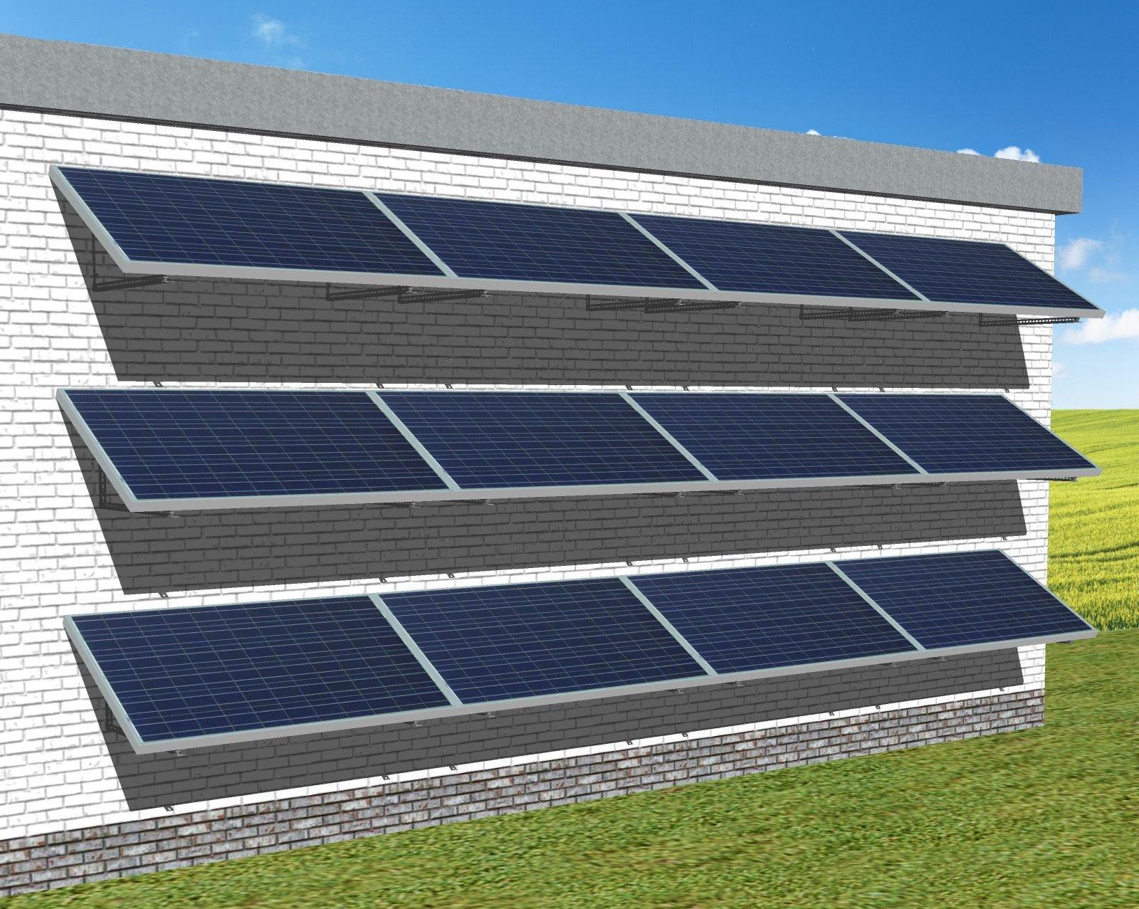 myCleantech-Solar.org Solaranalage Fassade oder Carport mit 12 Pannels
