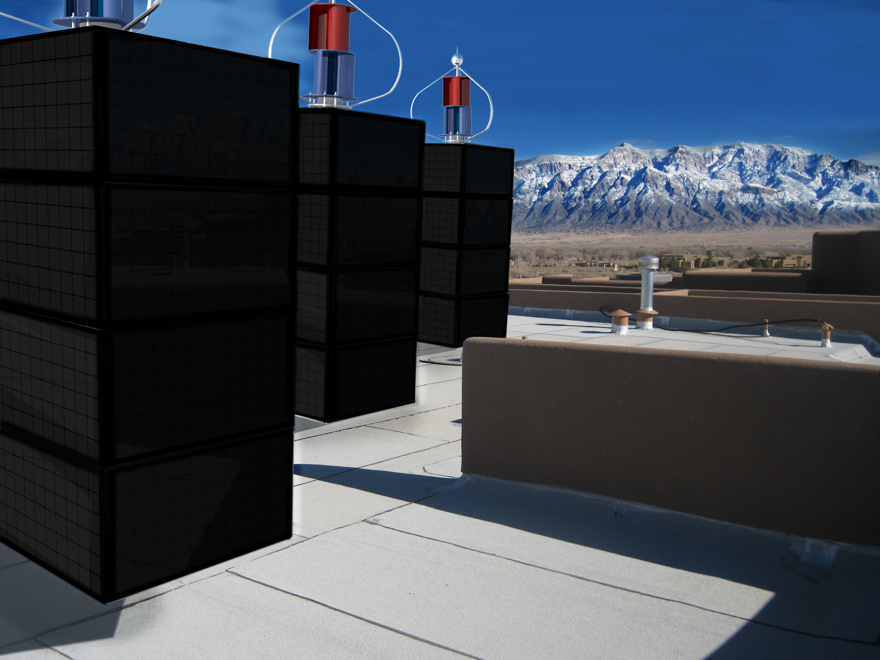 myPowerTower.org by cleantech-shop.org some on the roof of a building with black solarpannels and wind-system
