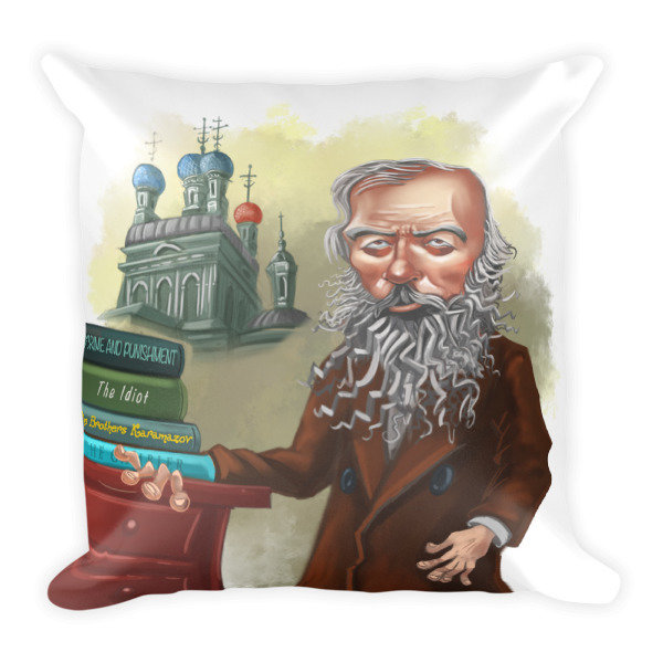 Fyodor Dostoevsky Square Pillow
