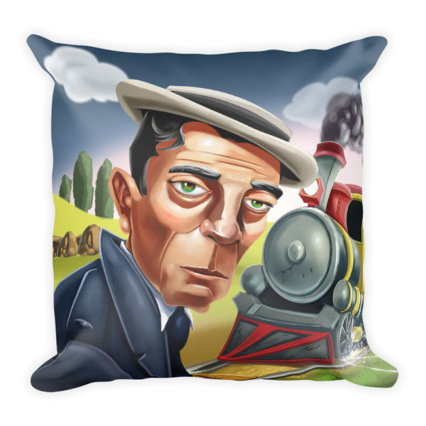 Buster Keaton Square Pillow