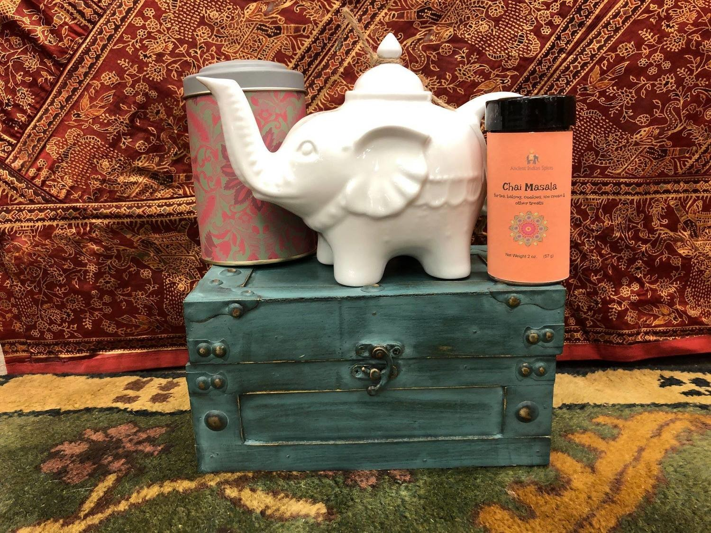 Elephant Teapot, Tea Tin, and our Masala Chai 2 oz.