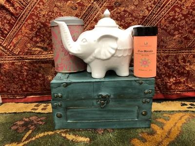 Elephant Teapot, Tea Tin, and our Masala Chai 2 oz.