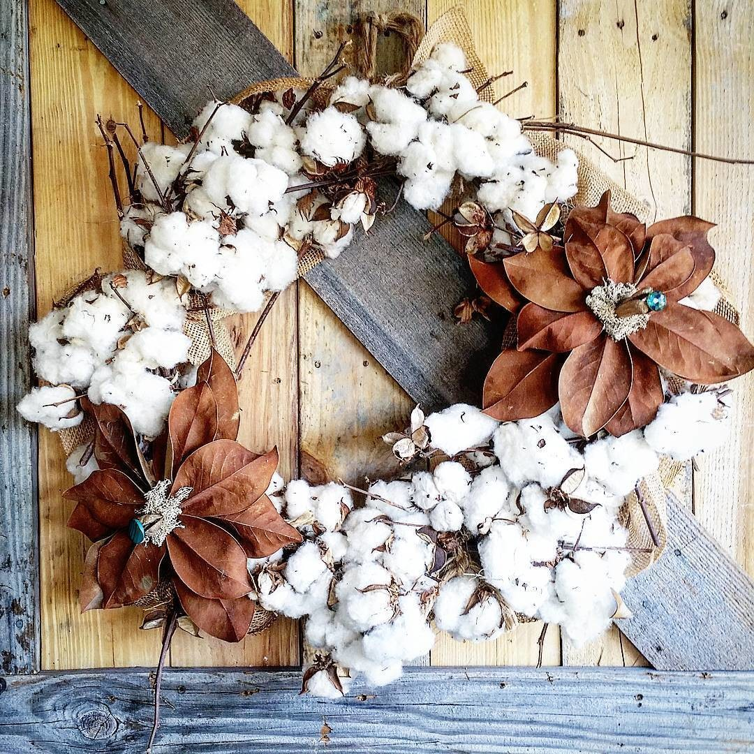 Grapevine And Cotton Wreath With Hand Made Magnolia Flowers