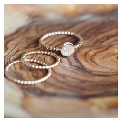14k Gold Filled Beaded Stacking Rings