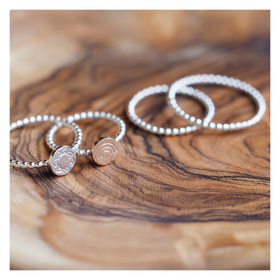 Sterling Silver Beaded Stacking Rings
