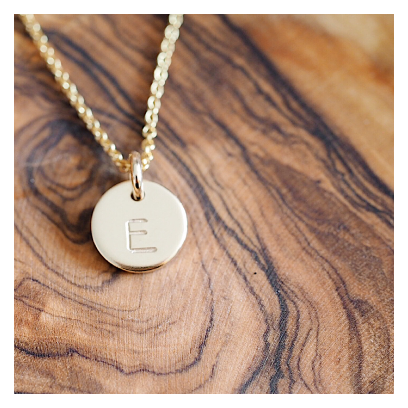 14k Gold MINI Initial Disc Necklace GOLDINTNECK