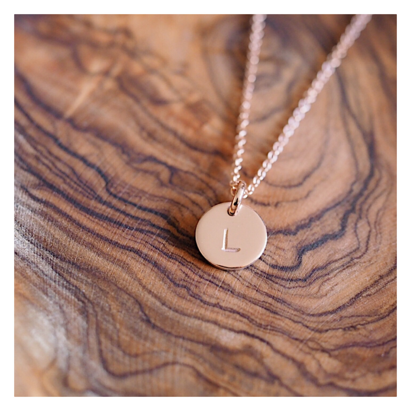14k Rose Gold MINI Initial Disc Necklace