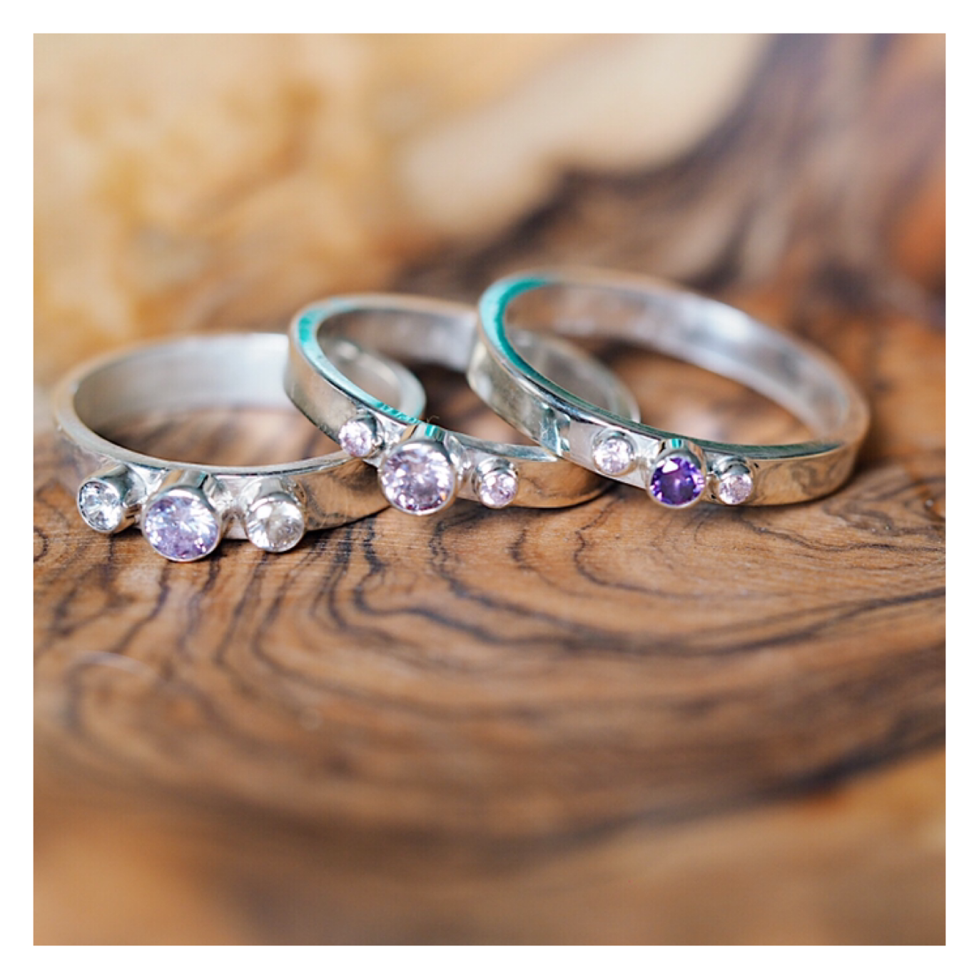 Sterling Silver 3 Gem Band (2mm,3mm and 4mm Gems) 3GEMBANDS