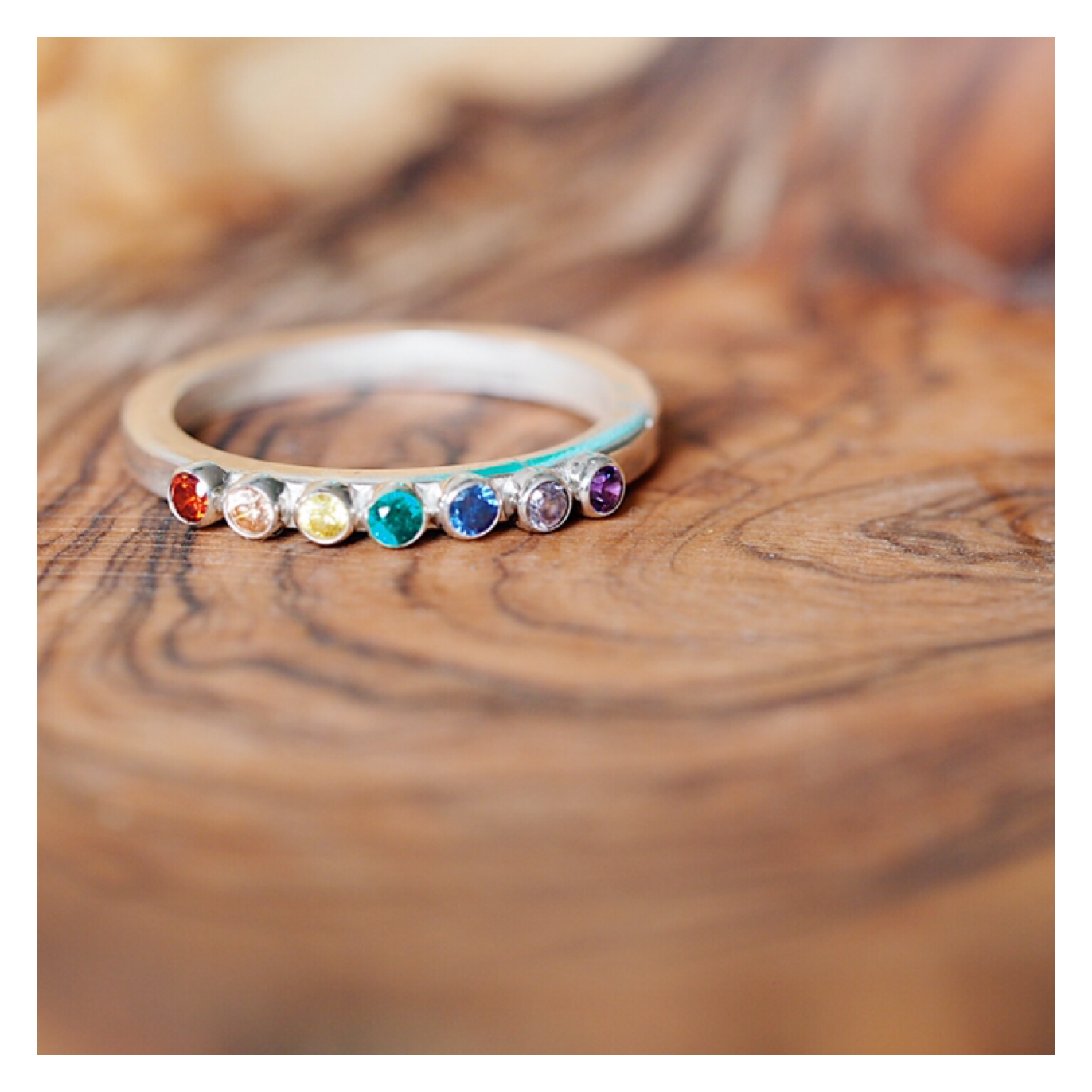 Sterling Silver Rainbow Gem Ring (2mm Gems) RAINBOWRING