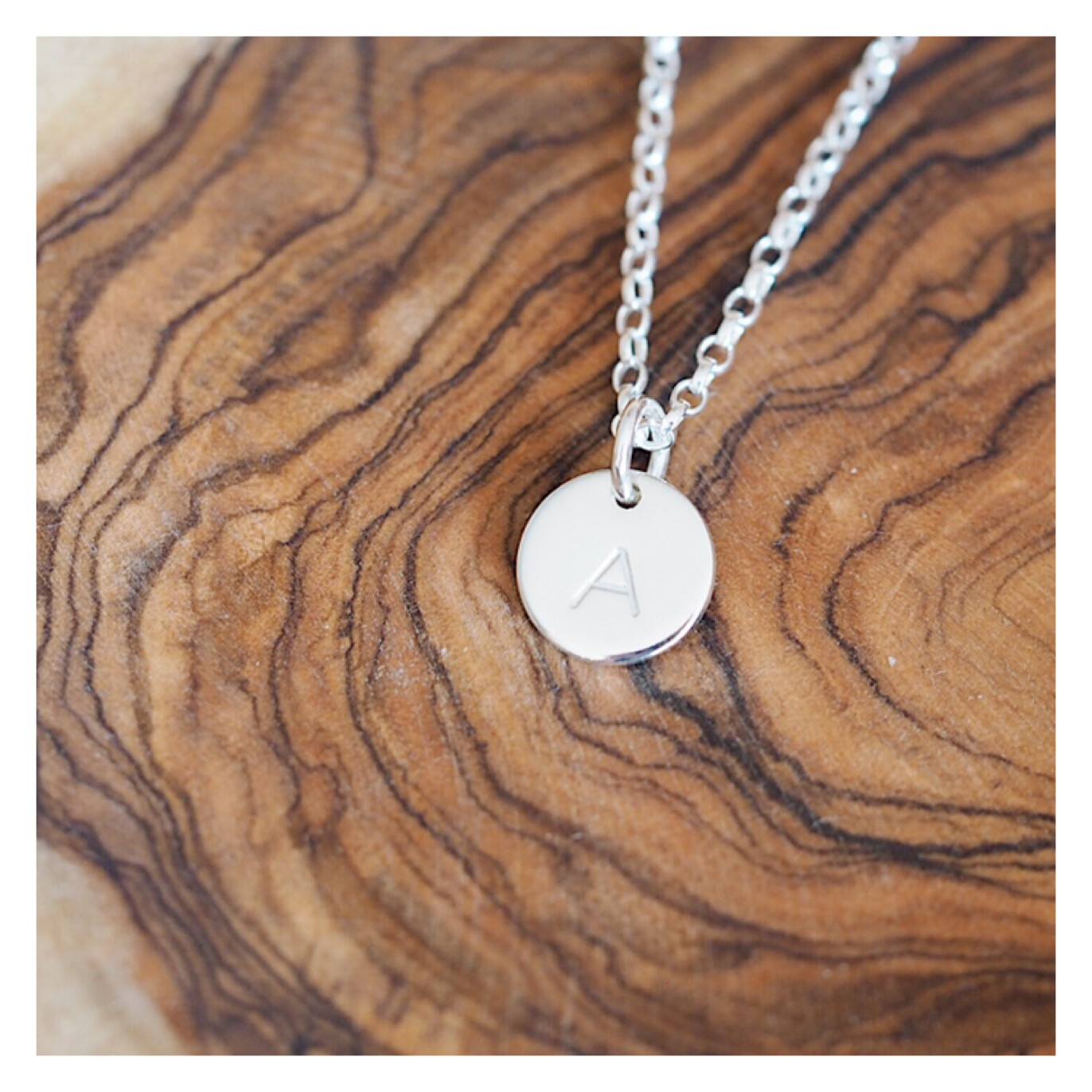 MINI Initial Disc Sterling Silver Necklace