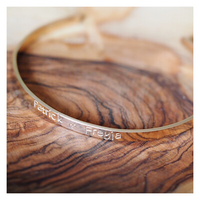 Personalised 14k Gold Filled Luxury Bangle 4mm