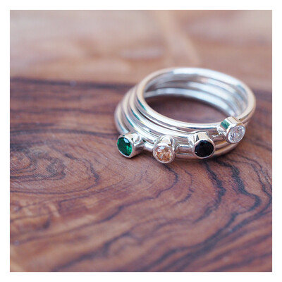 Sterling Silver Round Band Gem Ring (3mm Gem)