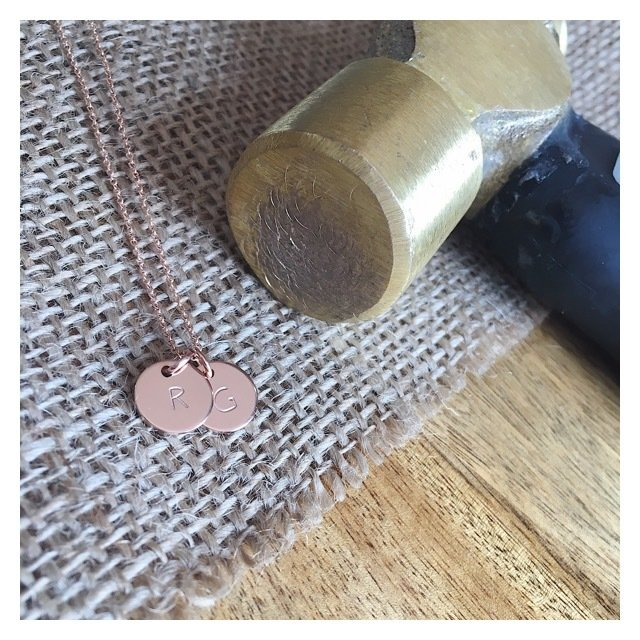 14k Rose Gold MINI Initial Disc Necklace RGOLDINITNECK