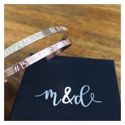 Personalised 14k Rose Gold Filled Luxury Bangle 4mm