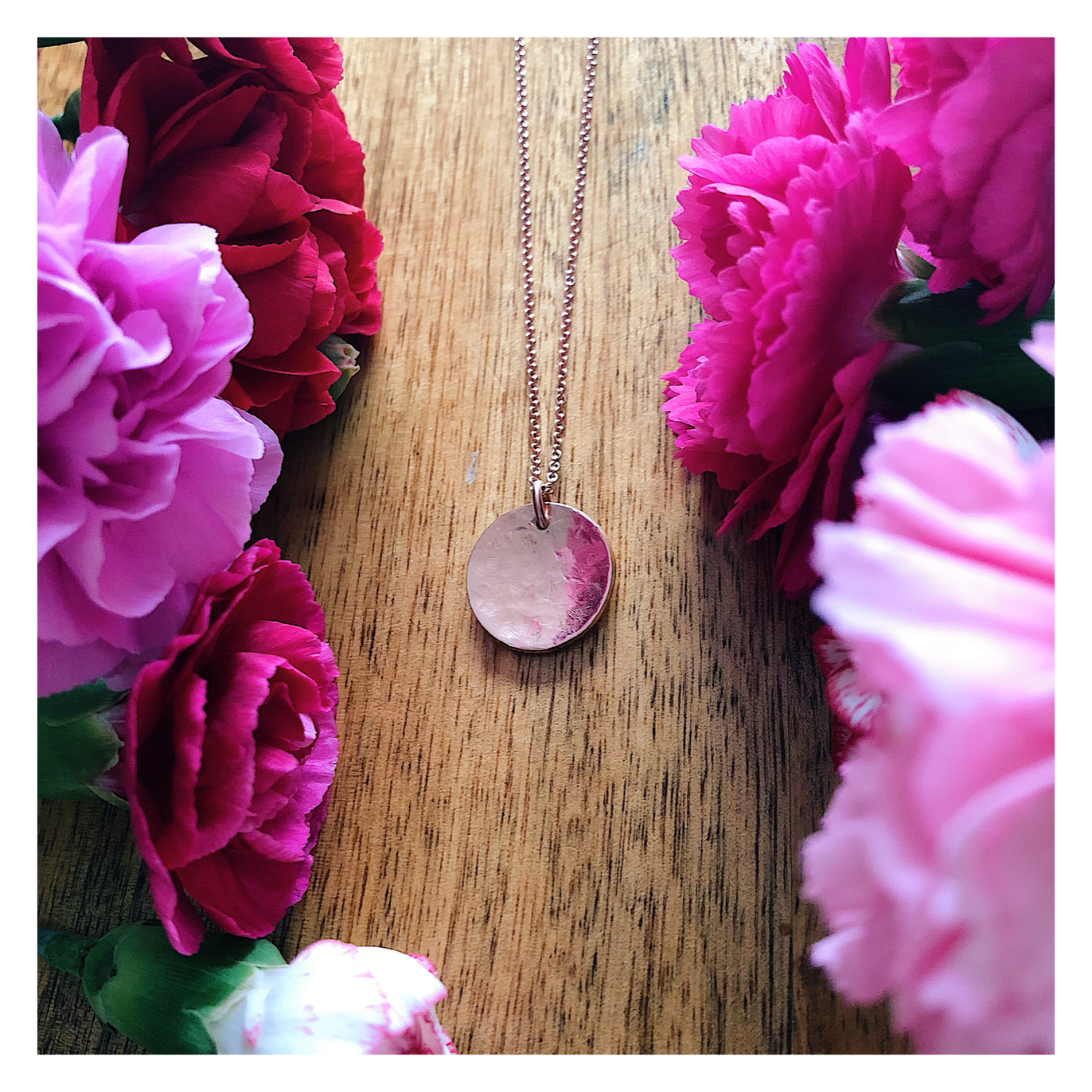 MIDI Texturised Curved Disc Necklace 14k Rose Gold MIDIROSETEX