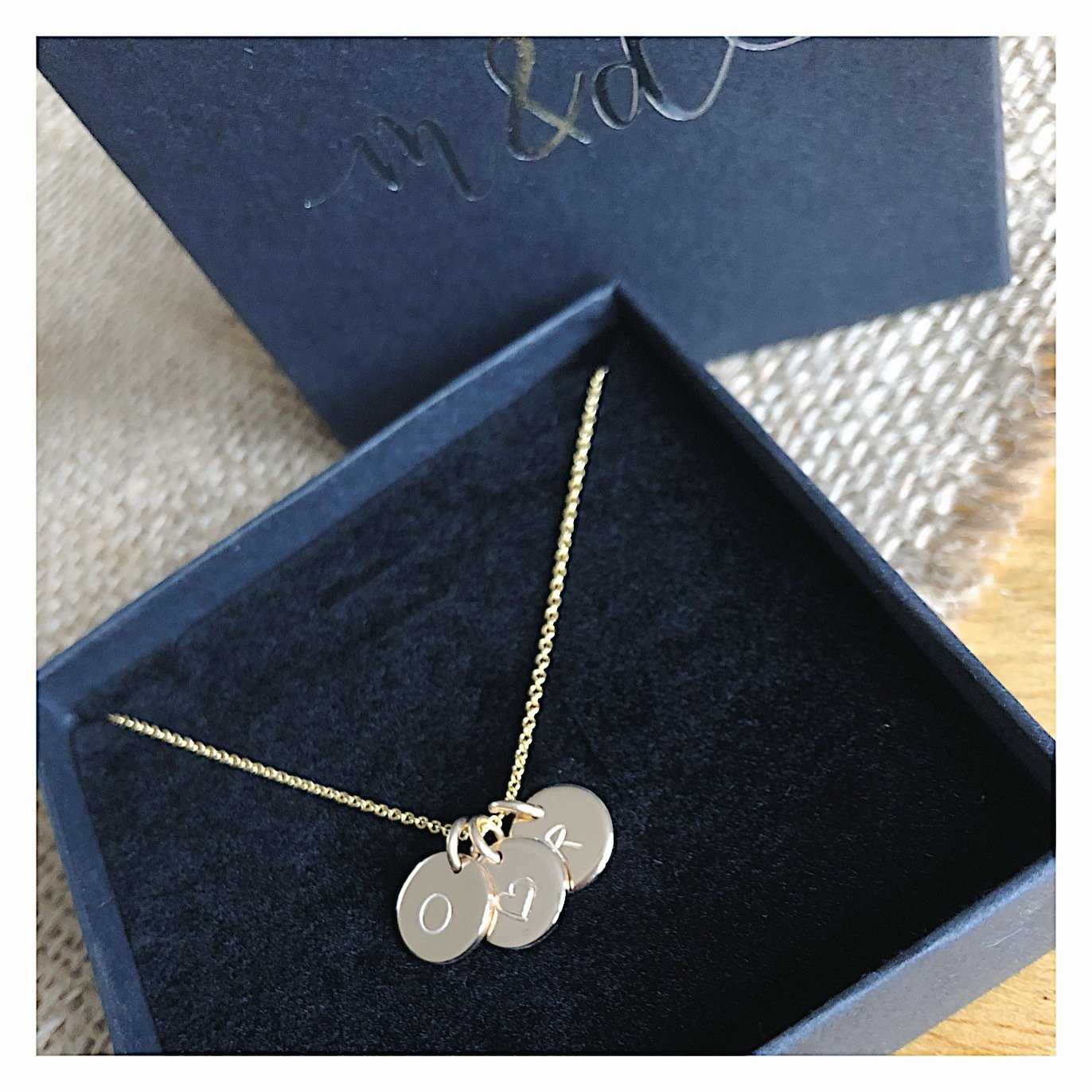 14k Gold MINI Initial Disc Necklace GOLDINTNECK