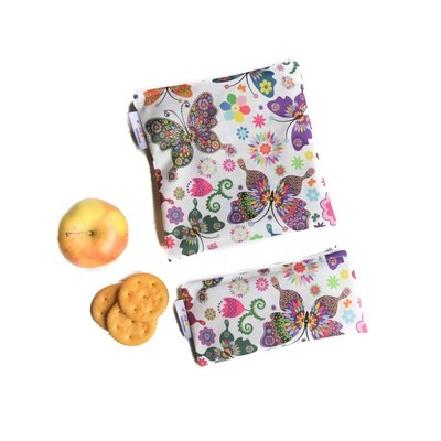 Reusable Snack and Sandwich Bag Set -Butterflies on White