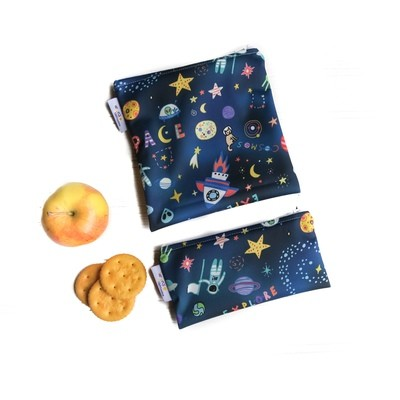 Reusable Snack and Sandwich Bag Set -Space