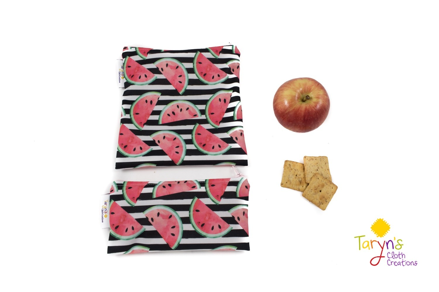 Reusable Snack and Sandwich Bag Set -Watermelons