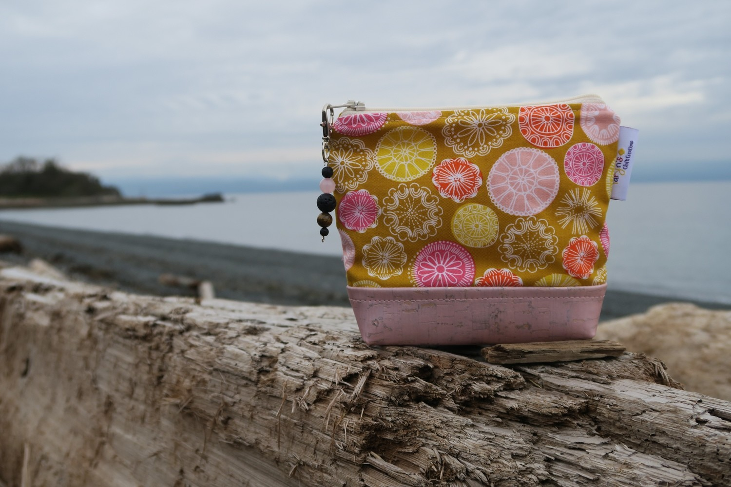 Small Carry Case -Mustard and Pink Mandalas
