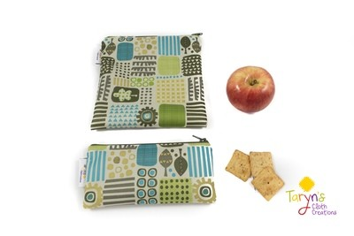 Reusable Snack and Sandwich Bag Set -Nature Print