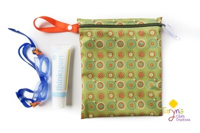 Small Wet Bag -Green with Orange Circles