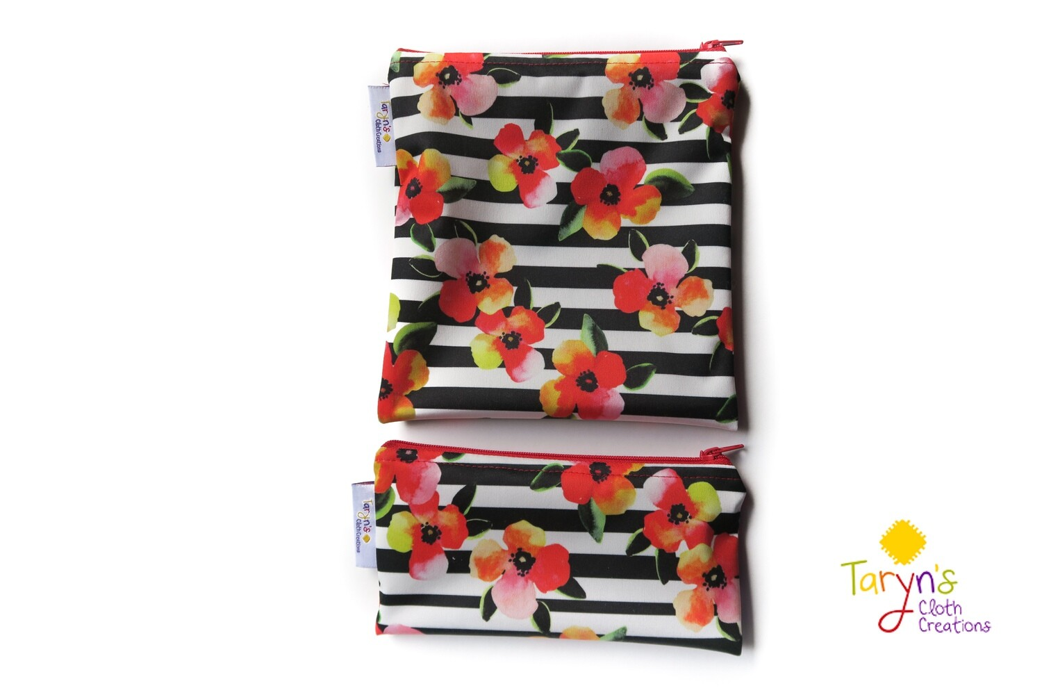 Reusable Snack and Sandwich Bag Set -Red Floral