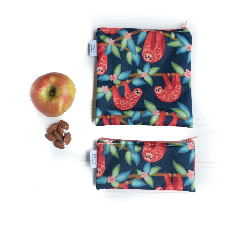 Reusable Snack and Sandwich Bag Set -Sloths