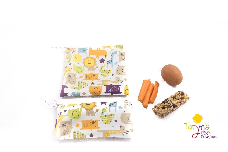 Reusable Snack and Sandwich Bag Set -Animals