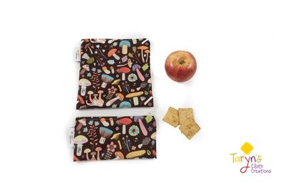 Reusable Snack and Sandwich Bag Set -Mushrooms